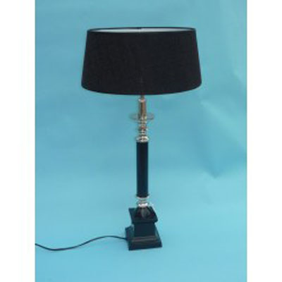 Stolní lampa - černé dřevo + nikl