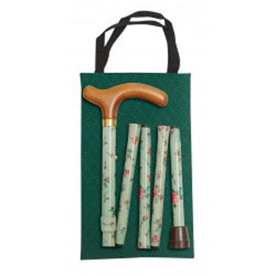 Hůl skládací handbag green floral/4800D