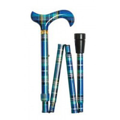 Vycházková hůl skládací /4646N - modrý tartan