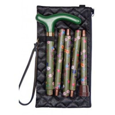 Vycházková hůl skládací/4811 C s pouzdrem do kabelky - olivová